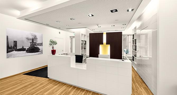 Dieses Architekturfoto zeigt eine moderne Arztpraxis in Hamburg.